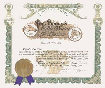 Prof. Jesse Beery Horse Training Diploma